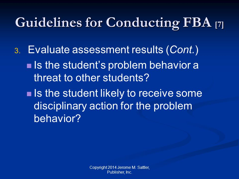 Guidelines for Conducting FBA [7]